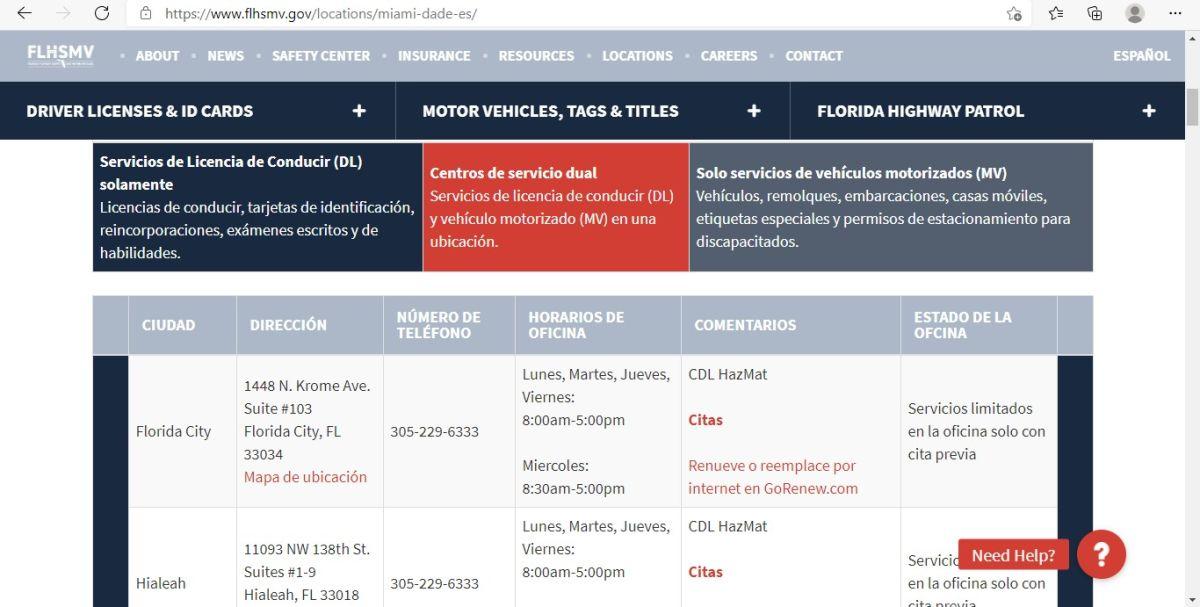 Captura de pantalla que muestra las oficinas del FLHSMV disponibles y sus servicios en Florida