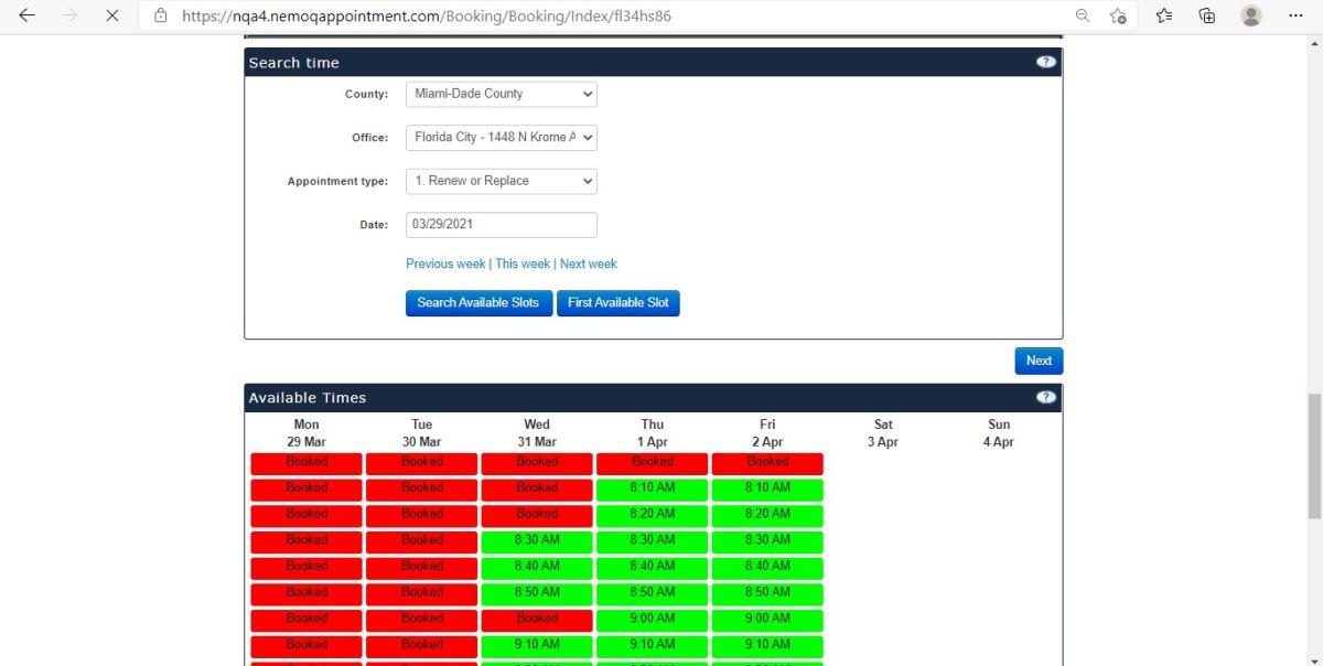 Imagen demostrativa de cómo funciona el sistema de citas en línea del FLHSMV