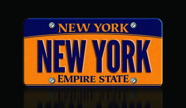 Foto de la única placa legal personalizada con el nombre del estado de New York perteneciente al Volvo V70 valorado en 20 millones de dólares