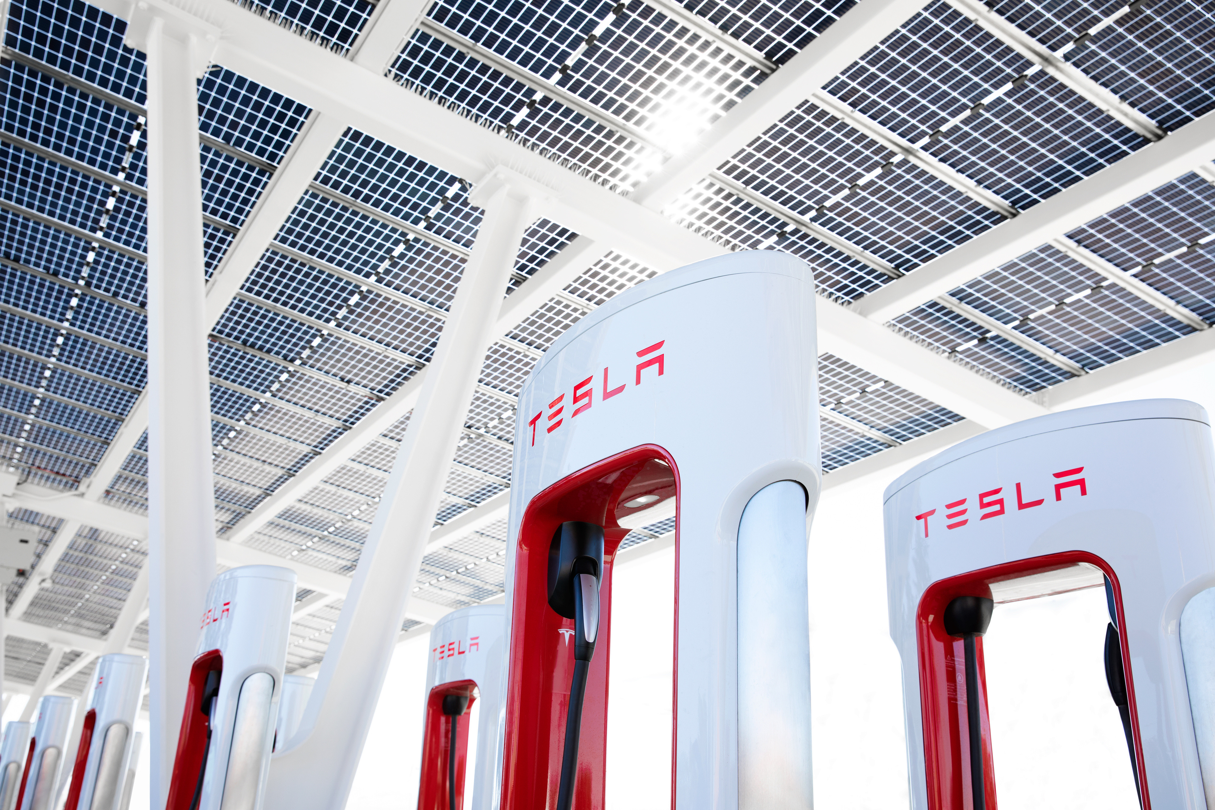 Foto de varios cargadores públicos de Tesla